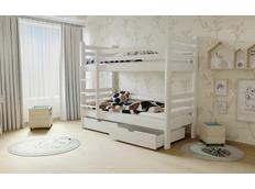 Dětská patrová postel z MASIVU 200x90cm se šuplíky - M07 bílá