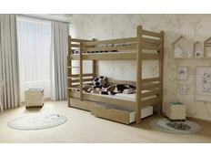 Dětská patrová postel z MASIVU 200x80cm bez šuplíku - M07 moření dub