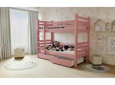 Dětská patrová postel z MASIVU 180x80cm se šuplíky - M07 růžová