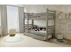 Dětská patrová postel z MASIVU 200x90cm bez šuplíku - M07 šedá