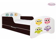 Dětská postel se šuplíkem BAREVNÉ SOVIČKY