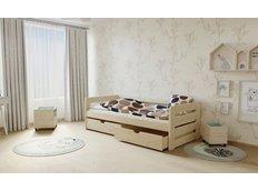 Dětská postel z MASIVU 200x90cm SE ŠUPLÍKY - M02 bezbarvý lak