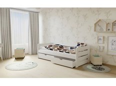 Dětská postel z MASIVU 180x80cm SE ŠUPLÍKY - M02 bílá
