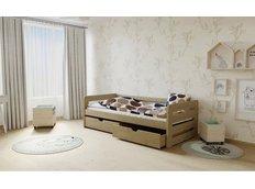 Dětská postel z MASIVU 200x80cm bez šuplíku - M02 moření dub