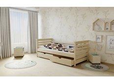 Dětská postel z MASIVU 180x80cm SE ŠUPLÍKY - M03 bezbarvý lak