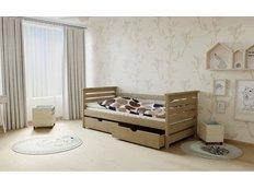 Dětská postel z MASIVU 200x90cm bez šuplíku - M03 moření dub