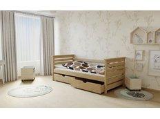 Dětská postel z MASIVU 180x80cm bez šuplíku - M03 moření olše