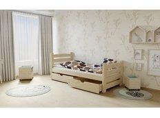 Dětská postel z MASIVU 180x80cm SE ŠUPLÍKY - M04 bezbarvý lak