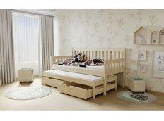 Dětská postel s výsuvnou přistýlkou z MASIVU 200x90cm SE ŠUPLÍKY - M06 bezbarvý lak