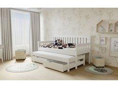 Dětská postel s výsuvnou přistýlkou z MASIVU 200x90cm SE ŠUPLÍKY - M06 bílá