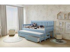 Dětská postel s výsuvnou přistýlkou z MASIVU 180x80cm bez šuplíku - M06 modrá