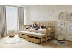 Dětská postel s výsuvnou přistýlkou z MASIVU 200x80cm bez šuplíku - M06 moření olše