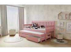 Dětská postel s výsuvnou přistýlkou z MASIVU 180x80cm SE ŠUPLÍKY - M06 růžová
