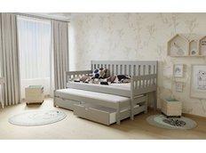 Dětská postel s výsuvnou přistýlkou z MASIVU 200x90cm bez šuplíku - M06 šedá