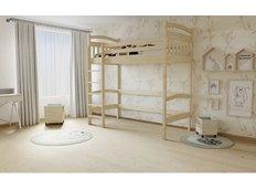 Vyvýšená dětská postel z MASIVU 200x90cm - M05 bezbarvý lak