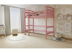 Vyvýšená dětská postel z MASIVU 180x80cm - M05 růžová
