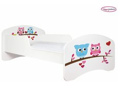 Dětská postel bez šuplíku SOVIČKY A SRDÍČKA
