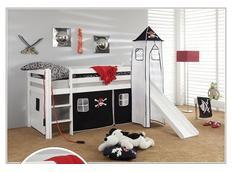 Dětská VYVÝŠENÁ postel se skluzavkou PIRÁTI bíločerní - BÍLÁ