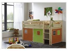 Dětská VYVÝŠENÁ postel DOMEČEK zelenooranžový - PŘÍRODNÍ