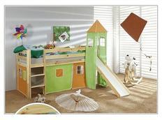 Dětská VYVÝŠENÁ postel se skluzavkou DOMEČEK zelenooranžový - PŘÍRODNÍ