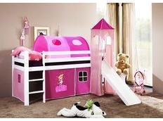 Dětská VYVÝŠENÁ postel se skluzavkou DOMEČEK růžový - BÍLÁ