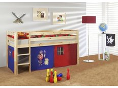 Dětská VYVÝŠENÁ postel PIRÁTI modročervení - PŘÍRODNÍ
