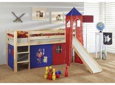 Dětská VYVÝŠENÁ postel se skluzavkou PIRÁTI modročervení - PŘÍRODNÍ