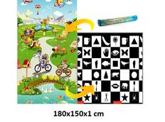 Dětský pěnový koberec - šachovnice + pohádkový svět