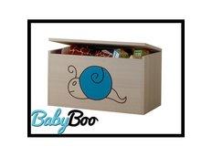 Dětská truhla na hračky s výřezem MÉĎA - modrá