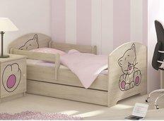 Dětská postel s výřezem KOČIČKA - růžová 160x80 cm