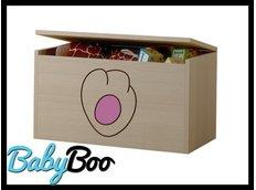 Dětská truhla na hračky s výřezem KOČIČKA - růžová