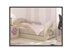 Dětská postel s výřezem PEJSEK - růžová 140x70 cm