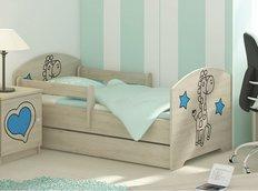Dětská postel s výřezem ŽIRAFA - modrá 140x70 cm