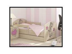 Dětská postel s výřezem ŽIRAFA - růžová 160x80 cm