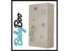 Dětská šatní skříň s výřezem ŽIRAFA - růžová