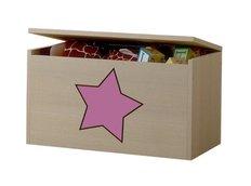 Dětská truhla na hračky s výřezem ŽIRAFA - růžová
