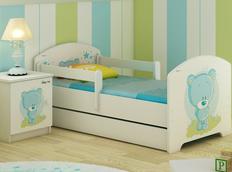 Dětská postel MODRÝ MEDVÍDEK 160x80 cm