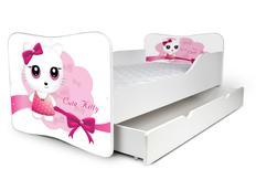 Dětská postel se šuplíkem KOČIČKA s mašlí + matrace ZDARMA