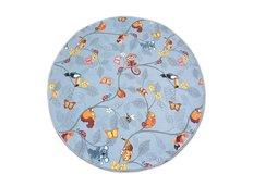 Dětský kulatý koberec VESELÁ ZVÍŘÁTKA - šedý