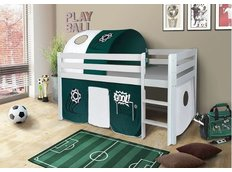 Dětská VYVÝŠENÁ postel FOTBAL - BÍLÁ