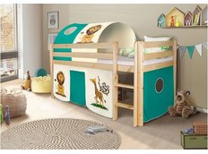 Dětská VYVÝŠENÁ postel SAFARI - PŘÍRODNÍ