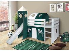 Dětská VYVÝŠENÁ postel se skluzavkou FOTBAL - BÍLÁ