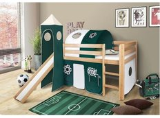Dětská VYVÝŠENÁ postel se skluzavkou FOTBAL - PŘÍRODNÍ