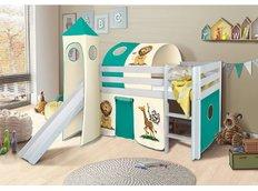 Dětská VYVÝŠENÁ postel se skluzavkou SAFARI - BÍLÁ