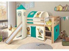 Dětská VYVÝŠENÁ postel se skluzavkou SAFARI - PŘÍRODNÍ
