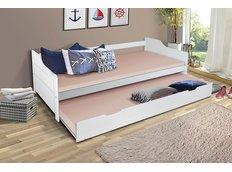 Dětská postel s výsuvnou přistýlkou z MASIVU 200x90 cm BABETA - bílá