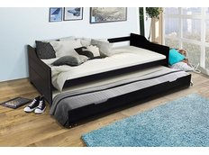 Dětská postel s výsuvnou přistýlkou z MASIVU 200x90 cm BABETA - černá