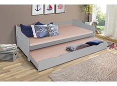 Dětská postel s výsuvnou přistýlkou z MASIVU 200x90 cm BABETA - šedá