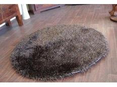 Kulatý koberec SHAGGY LOVE - tmavě hnědý