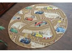 Dětský kulatý koberec CARS hnědý